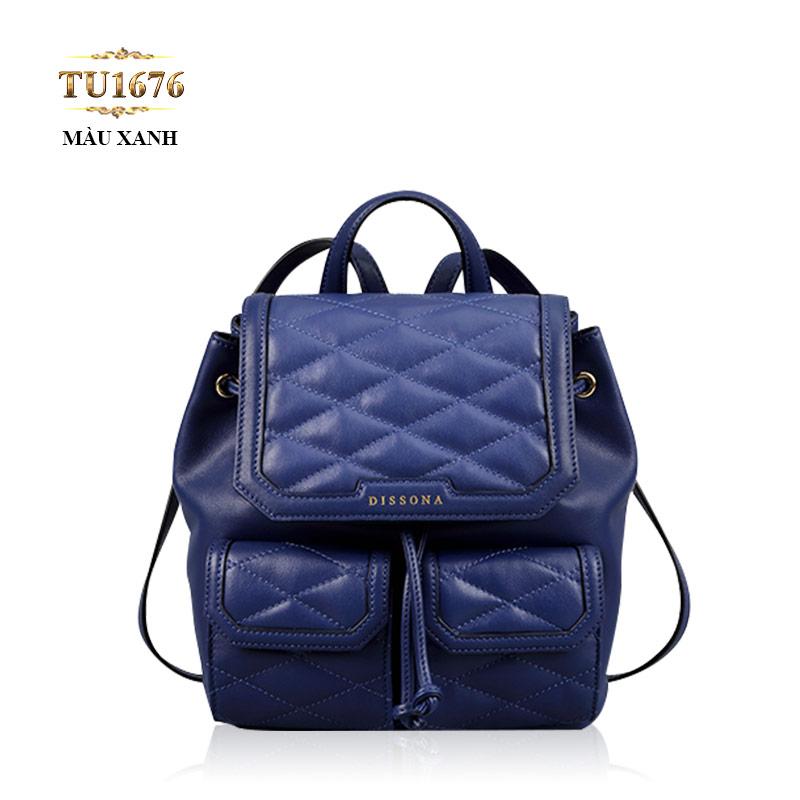 Balo da Dissona quả trám 2 túi trước cao cấp TU1676 (Màu xanh)