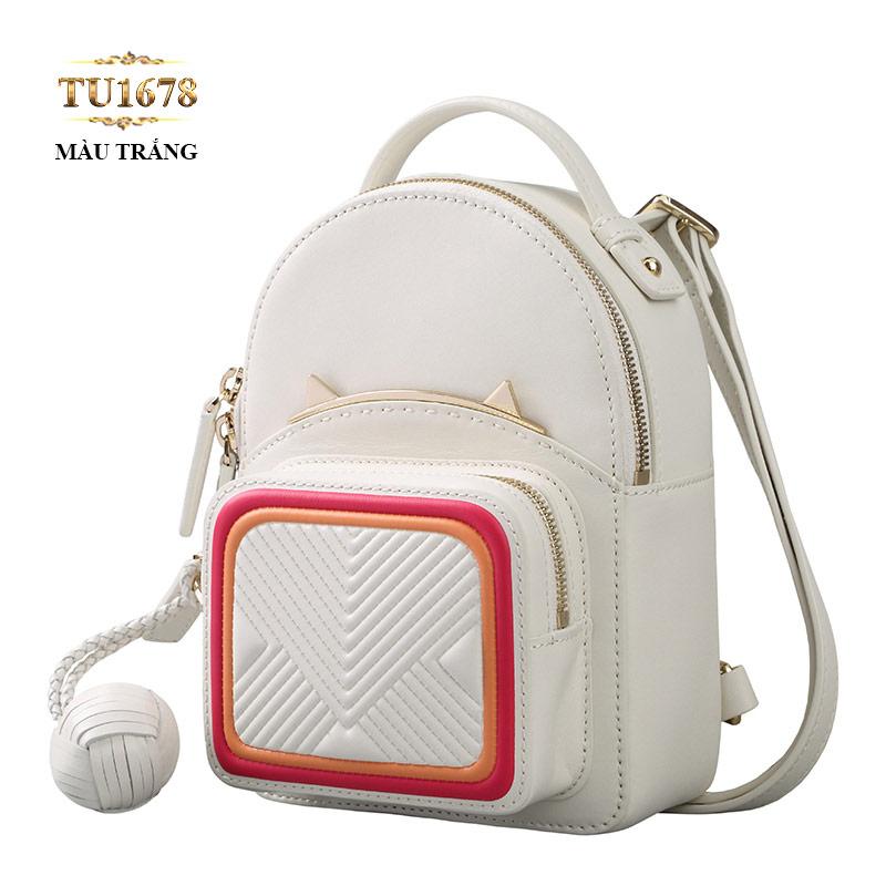 Balo da tai mèo thời trang màu trắng cao cấp TU1678