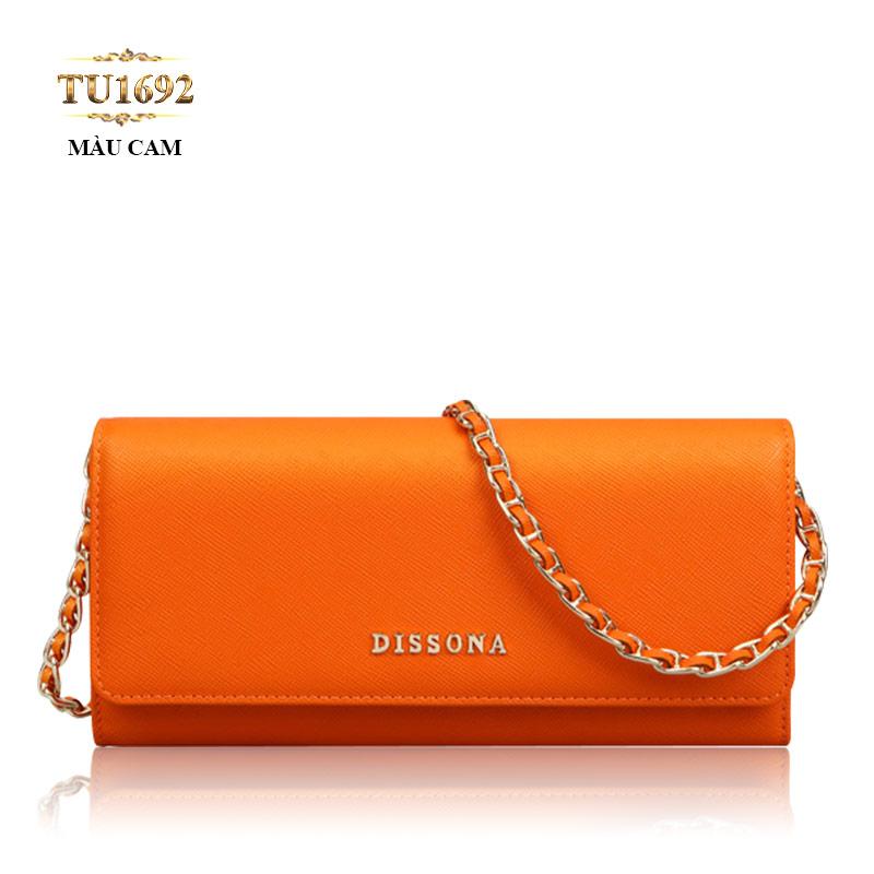 Clutch Dissona dây xích màu cam thời trang TU1692