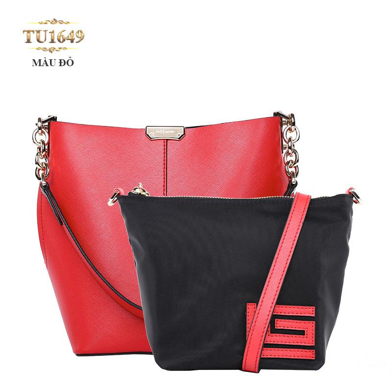 Set 2 túi xách GL cao cấp phối quai xích thời trang TU1649 (Màu đỏ)
