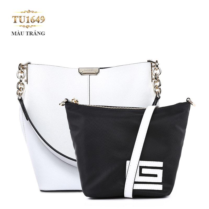 Set 2 túi xách GL cao cấp phối quai xích thời trang TU1649 (Màu trắng)