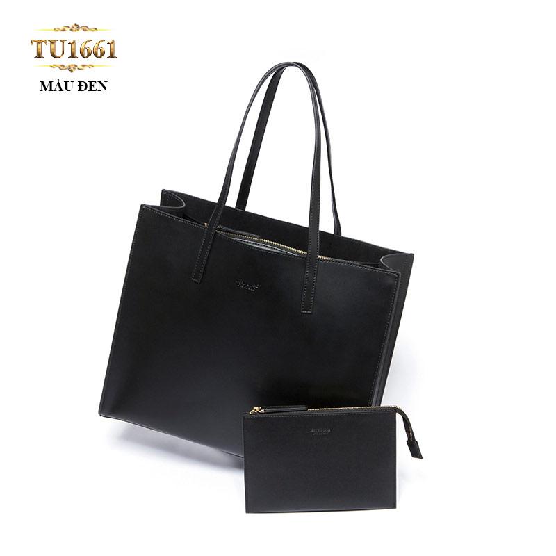Set 2 túi xách tote da màu đen cao cấp TU1661