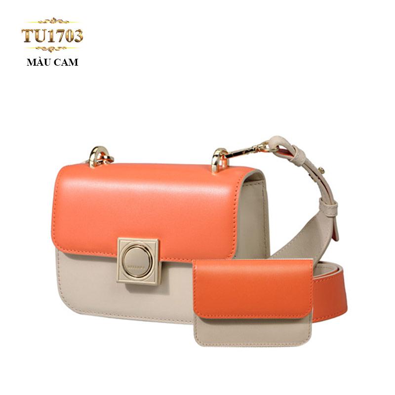 Set 2 túi xách+ví tiền Dissona phối màu thời trang TU1703 (Màu cam)