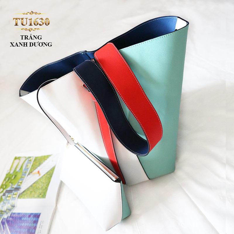 Túi bucket cao cấp quai xách bản to thời trang TU1630 (Trắng xanh dương)