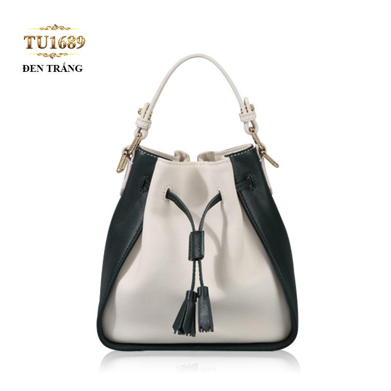 Túi bucket da dây rút trước đen-trắng thời trang TU1689