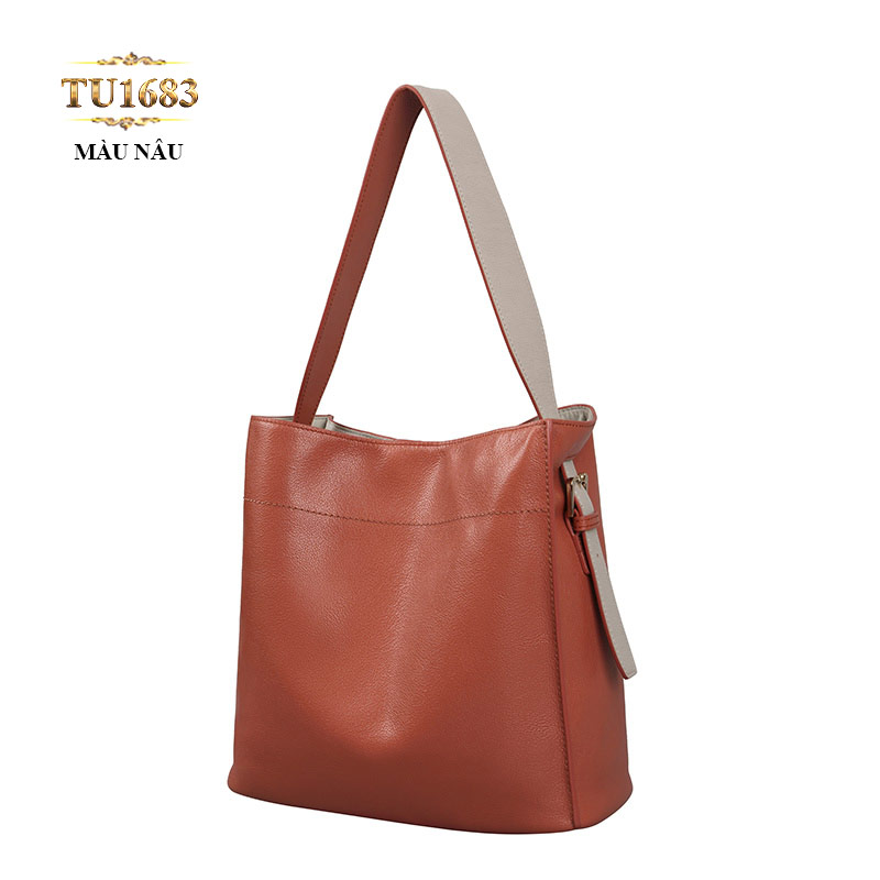 Túi đeo da form vuông to màu nâu cao cấp TU1683