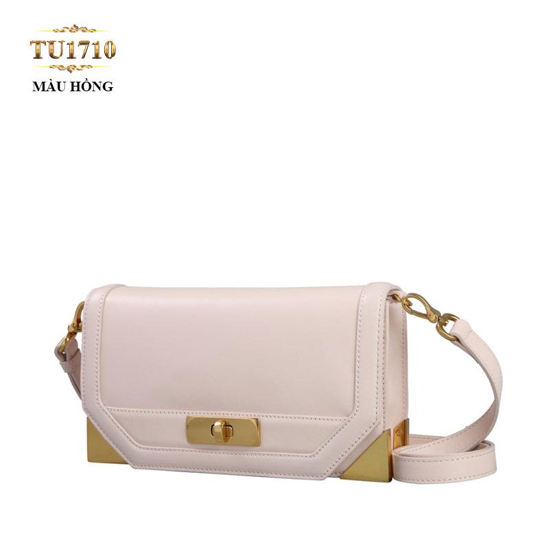 Túi đeo form chữ nhật mini cạnh góc kim loại cao cấp TU1710 (Màu hồng)
