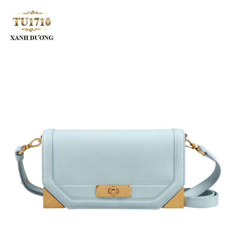 Túi đeo form chữ nhật mini cạnh góc kim loại cao cấp TU1710 (Xanh dương)
