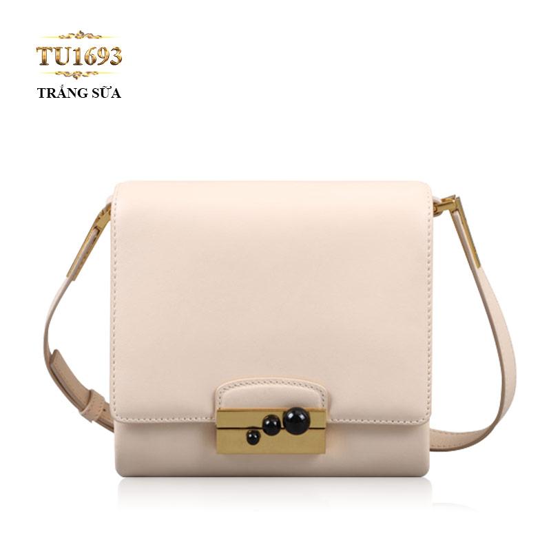 Túi đeo mini màu trắng khóa 3 tròn đen cao cấp TU1693