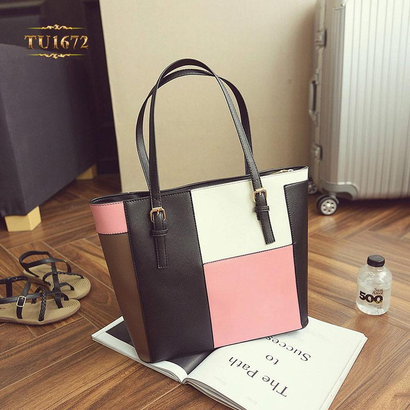 Túi tote da form vuông phối 3 màu thời trang TU1672