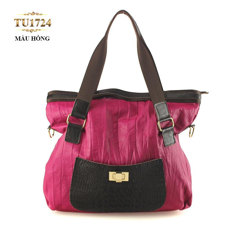 Kiểu túi TOTE vải thời trang phối màu da cao cấp trông đơn giản nhưng rất tinh tế TU1724