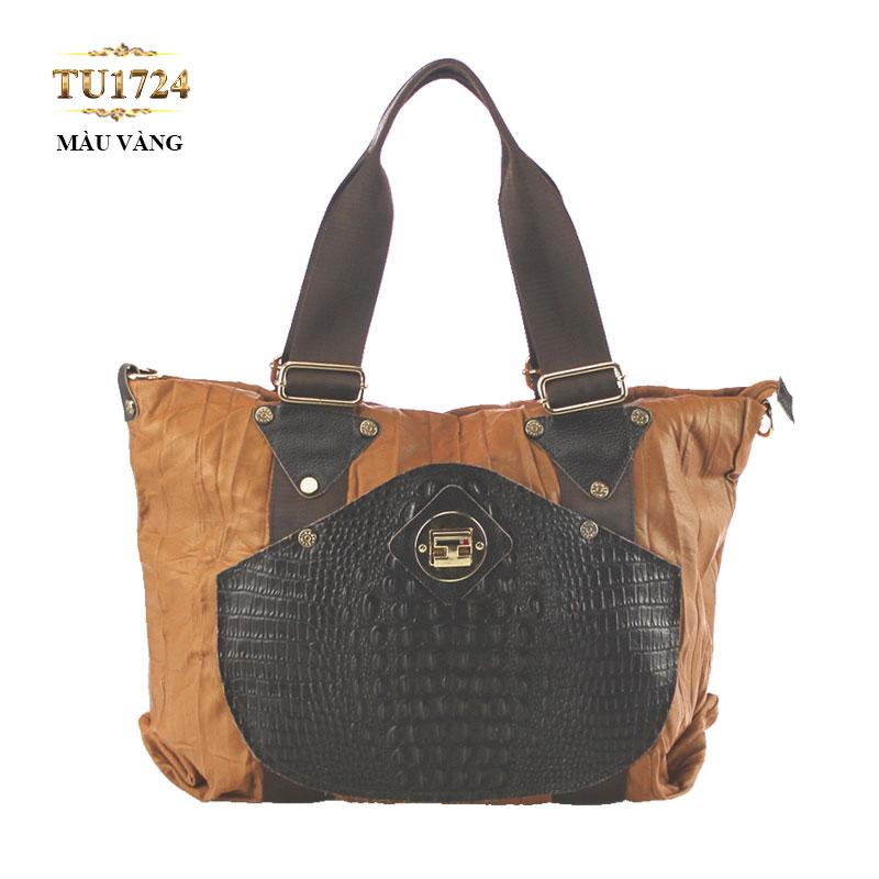 Túi tote thời trang phối da cao cấp TU1724 (Màu vàng)