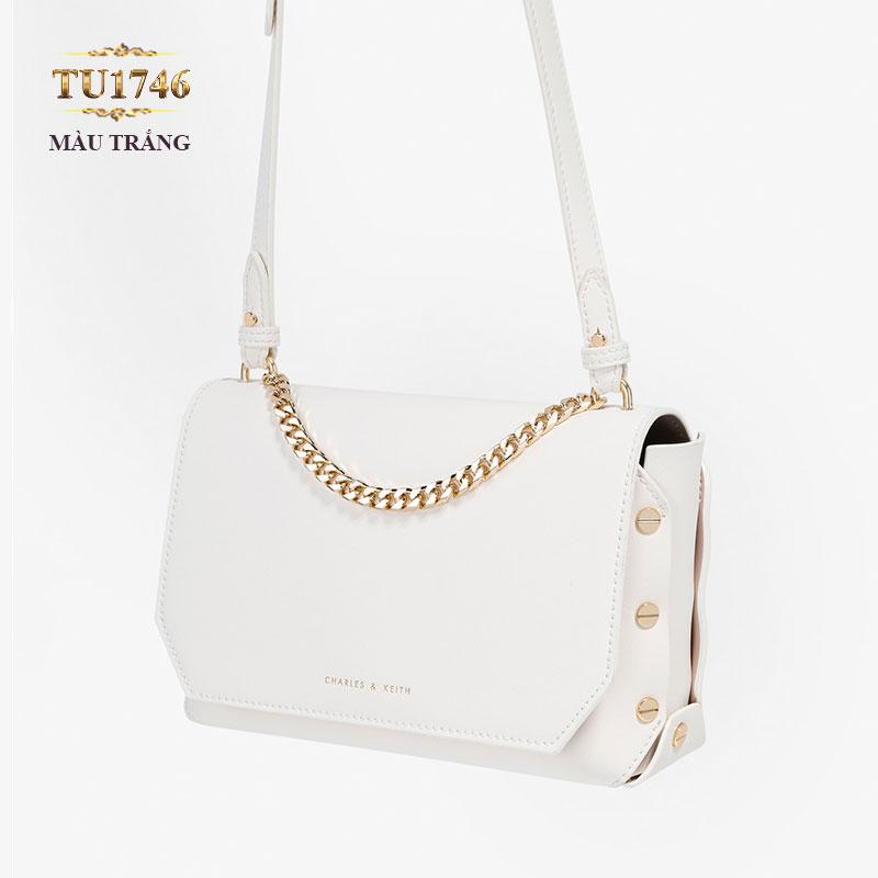 Túi xách CHARLES&KEITH viền đính màu trắng cao cấp TU1746