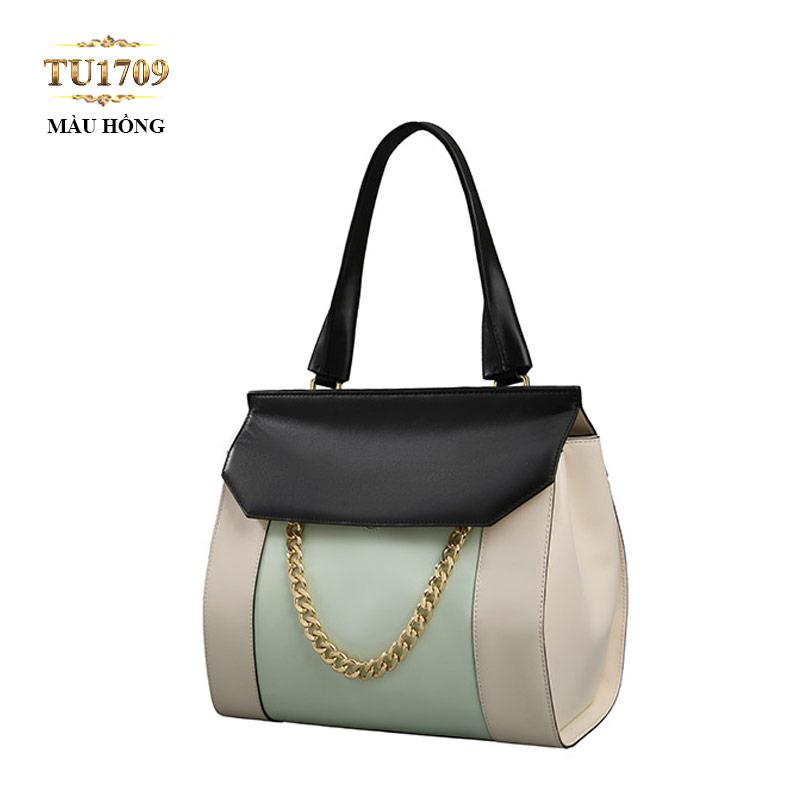 Túi xách da cao cấp nắp đen móc xích thời trang TU1709 (Màu hồng)