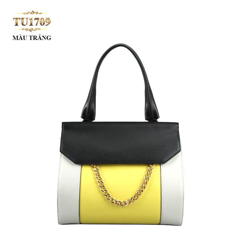 Túi xách da cao cấp nắp đen móc xích thời trang TU1709 (Màu trắng)