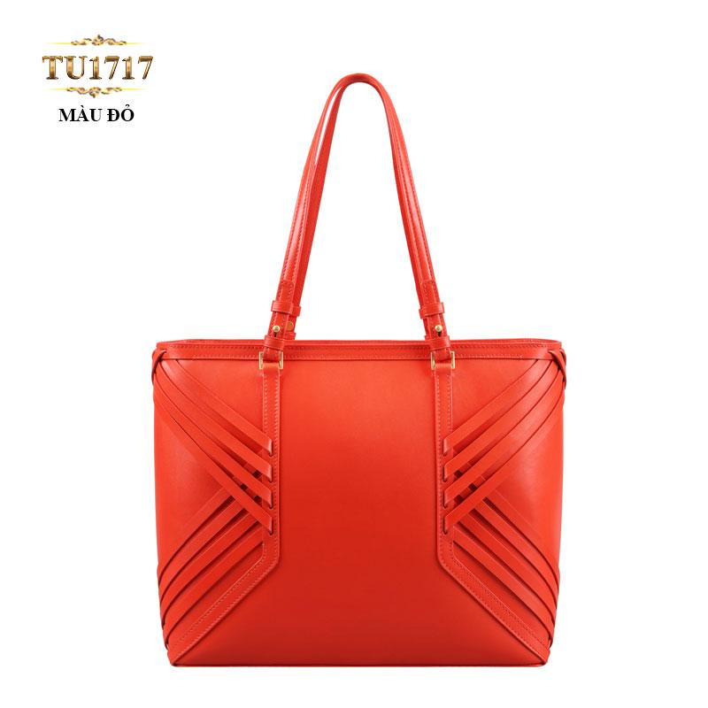 Túi xách da đan móc màu đỏ nhập khẩu cao cấp TU1717