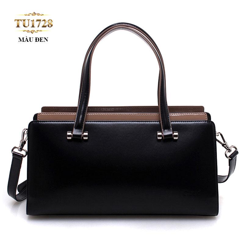 Túi xách da màu đen trơn nhập khẩu cao cấp TU1728