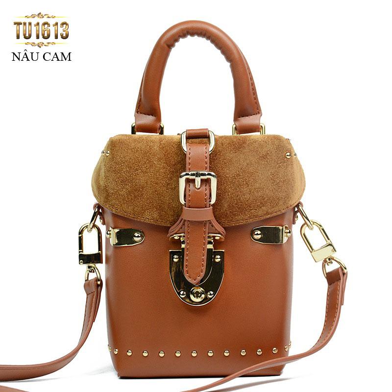 Túi xách da dáng đứng thời trang TU1613 ( Nâu cam)