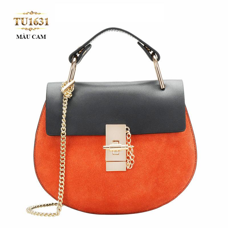 Túi xách đeo 1 dây xích dáng hến cao cấp TU1631 Màu cam