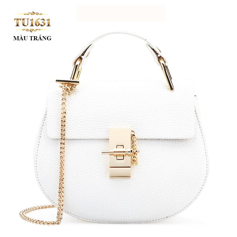 Túi xách đeo 1 dây xích dáng hến cao cấp TU1631 (Màu trắng)
