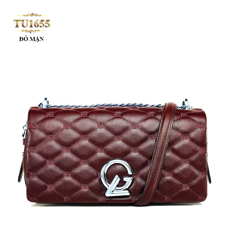 Túi xách đeo GL quả trám dây quai xích cao cấp TU1655 (Đỏ mận)