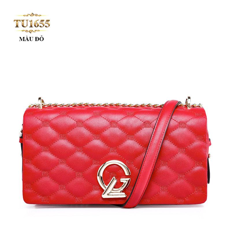 Túi xách đeo GL quả trám dây quai xích cao cấp TU1655 (Đỏ tươi)