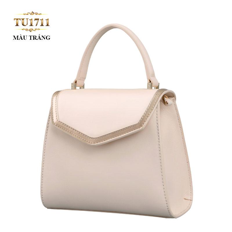 Túi xách đeo màu trắng viền nắp bạc cao cấp TU1711