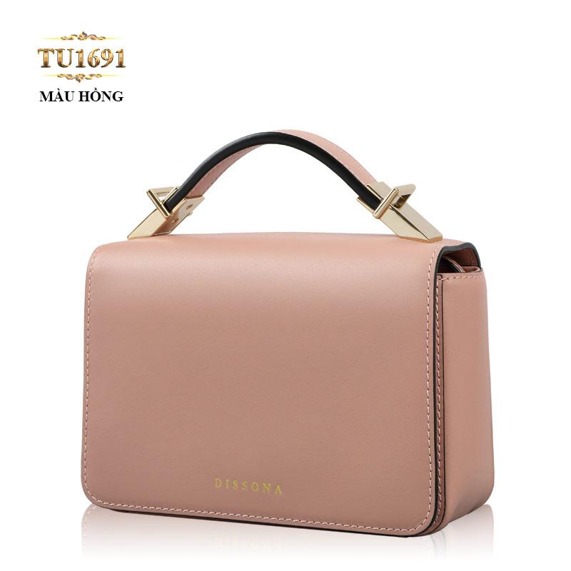 Túi xách đeo mini Dissona nắp trước cao cấp TU1691 (Màu hồng)