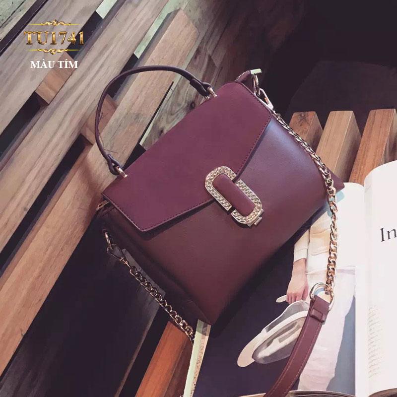 Túi xách đeo phối dây xích màu tím thời trang TU1741