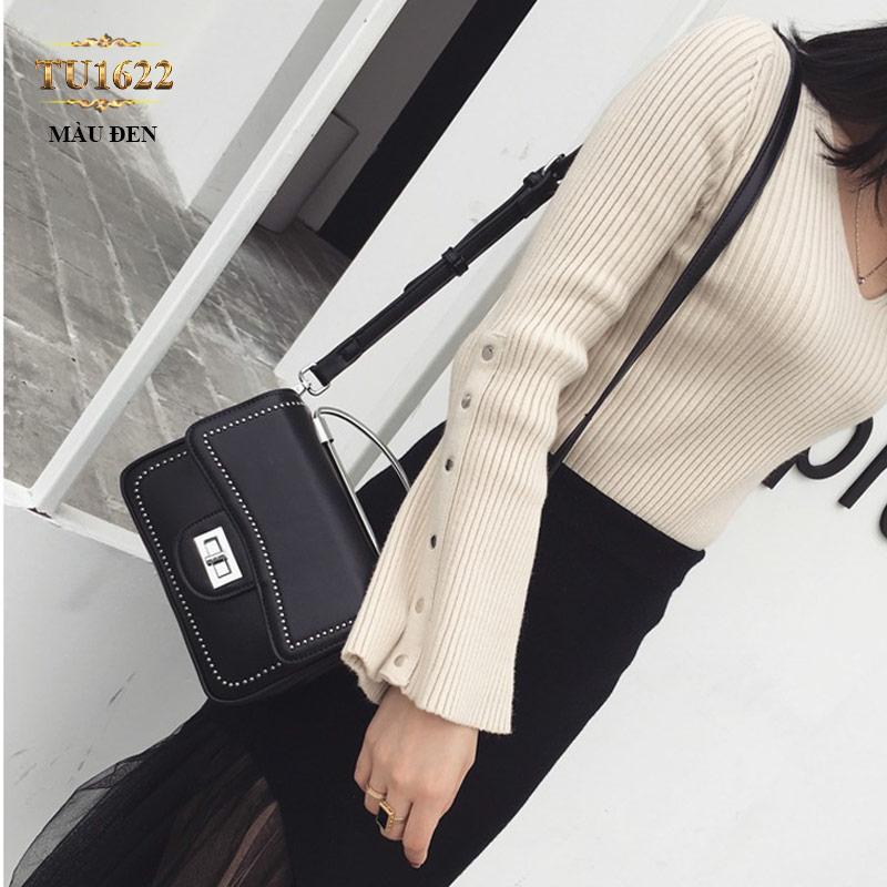 Túi xách đeo viền đính kim loại thời trang TU1622 (Màu đen)