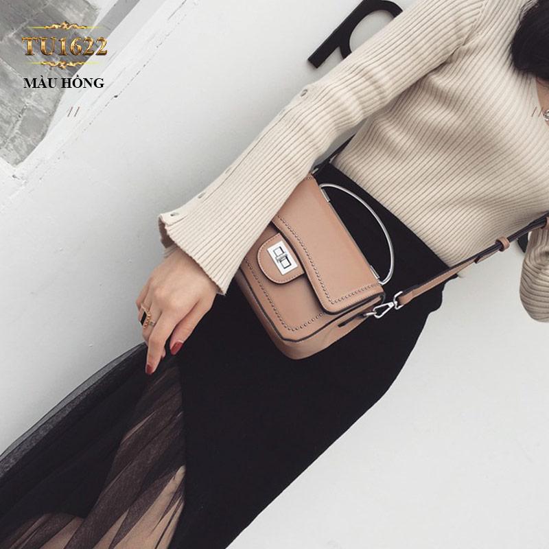 Túi xách đeo viền đính kim loại thời trang TU1622 Màu hồng