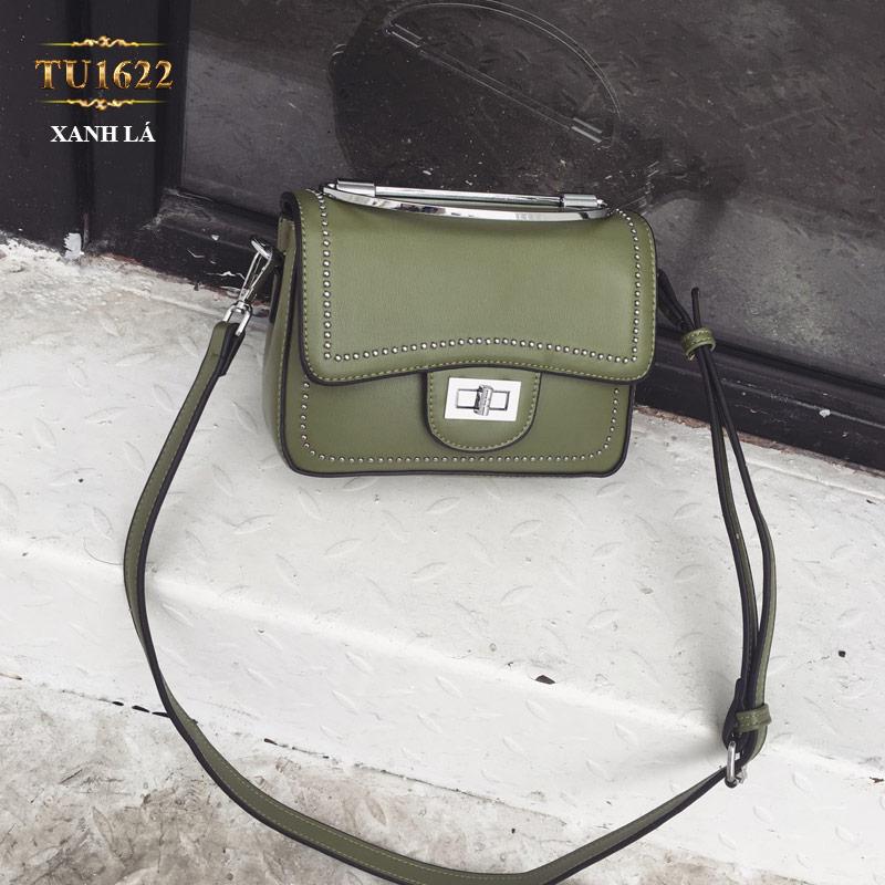 Túi xách đeo viền đính kim loại thời trang TU1622 (Xanh lá)