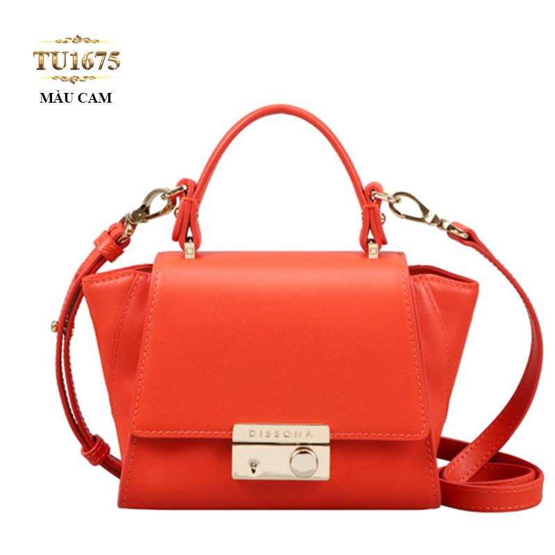 Túi xách Dissona khóa bấm kim loại cao cấp TU1675 (Màu cam)