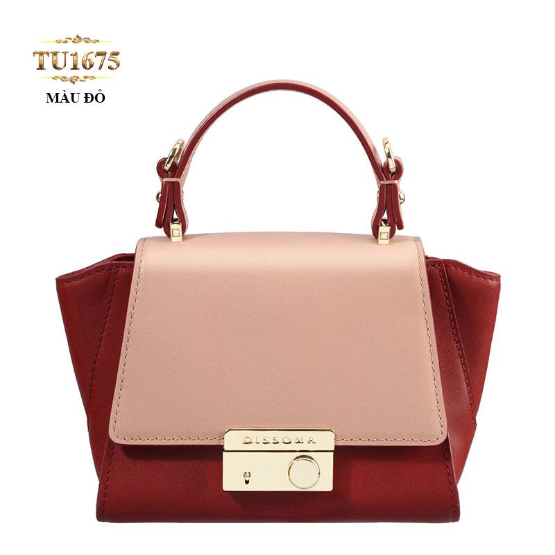 Túi xách Dissona phối màu khóa bấm kim loại cao cấp TU1675 (Màu đỏ)