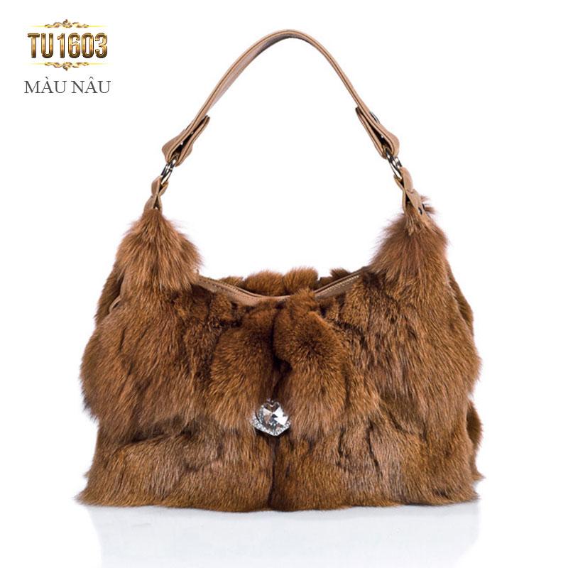 Túi xách lông thú đính đá nhập khẩu cao cấp TU1603 (Màu nâu)