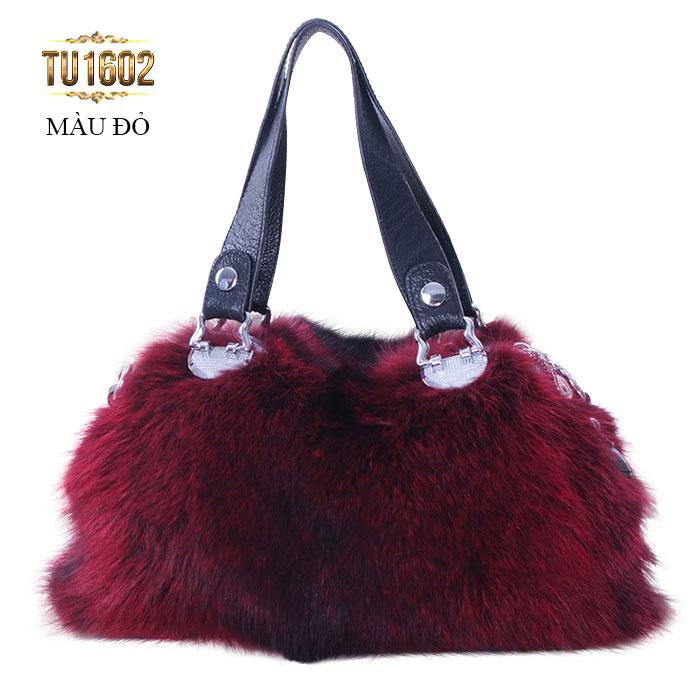 Túi xách lông thú quai da nhập khẩu cao cấp mới nhất tại Lury TU1602