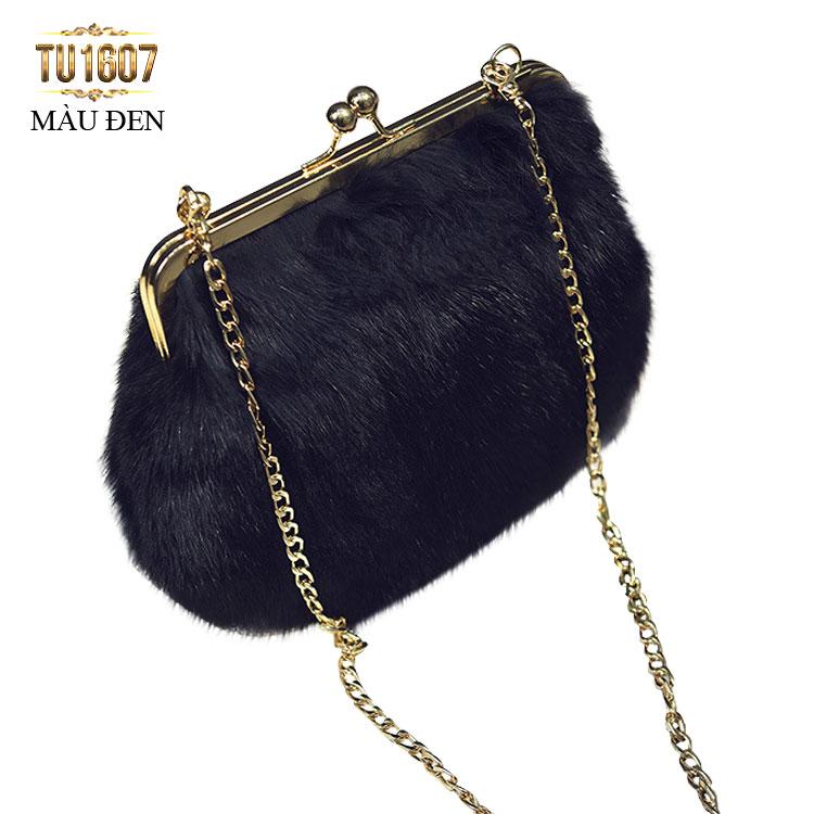 Túi xách lông thú thời thượng TU1607 (Màu đen)