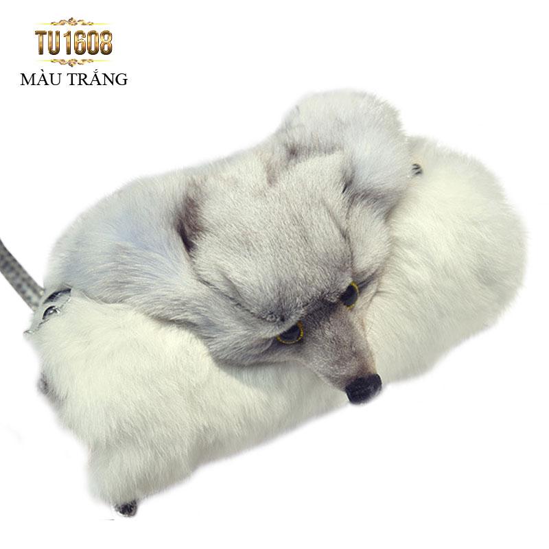 Túi xách lông thú thời trang TU1608 (Màu trắng)